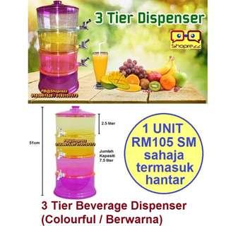 3 Tier Beverage Dispenser (Colourful / Berwarna)