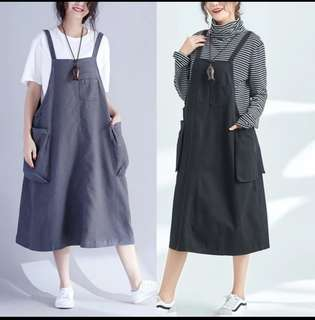 L-XXL Pinafore Dress with Two Big Pocket on Side Design