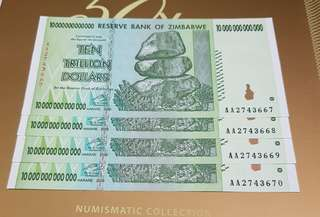 ZINBABWE Ten Trillion Dollars