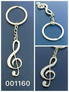 001160--銀色高音譜號金屬鎖匙扣 music treble clef metal Keychain key chain accessories