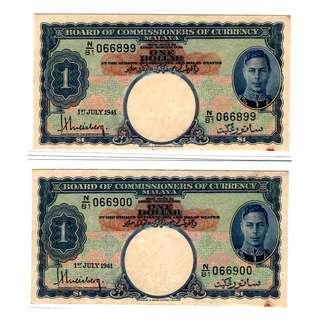 1941 Malaya King George VI $1 banknotes 066899 - 066900