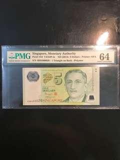 Rare Lucky 🍀 Number Last Prefix! 2013 Singapore 🇸🇬 $5 Polymer TS Sign, Last Prefix 4BW 000028 PMG 64 定定定定 易发