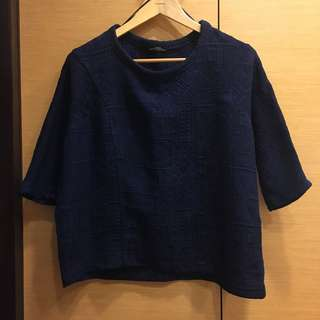 🚚 ZARA 精緻壓紋深藍上衣