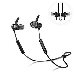 Syllable Wireless Bluetooth 4.2 Magnetic Stereo Earbuds Earphones with Built-in Mic IPX4 Splash Proof Noise Cancelling Secure Fit for Workout/Gym (D3X-Black)