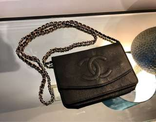 Classic Chanel black caviar leather wallet on chain