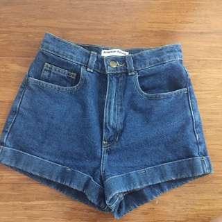 American Apparel high waisted denim shorts