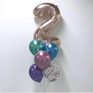 Plain 12'' Latex Helium Chrome Balloons in a bouquet