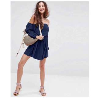 Elasticized Off Shoulder Dress
