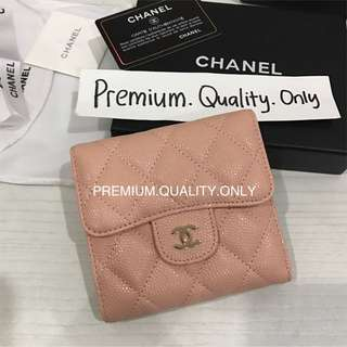 Ready Stock Chanel Caviar Wallet in pink