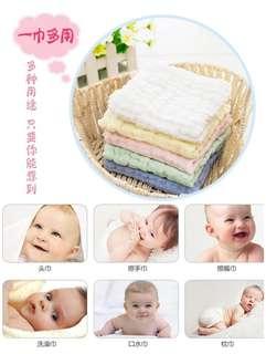 寶寶 彩色 高密 水洗紗布 方巾 6層 新生 兒童 純棉 口水巾 一卡 兩條 30*30