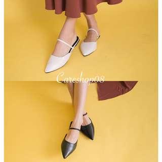 🇹🇼 尖頭鬆緊ㄧ字拖鞋平底鞋 2色P14346