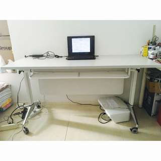 Modern Wide Computer Table White Movable Office Study Desk