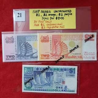 SHIP SERIES UNCIRCULATED.   $1, $2 orange, $2 purple.