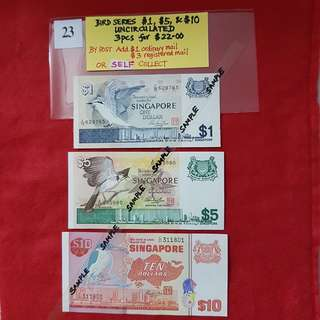BIRD SERIES $1, $5, & $10.   UNCIRCULATED.