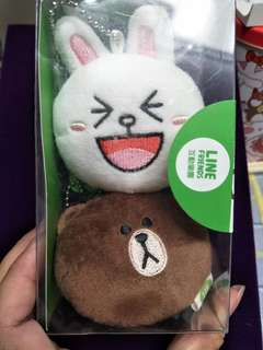 正版 LINE 熊大.兔兔吊飾