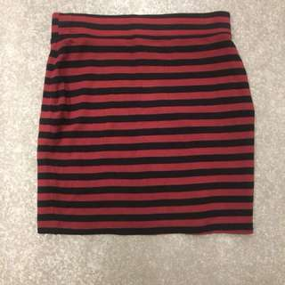 Red and black striped skirt