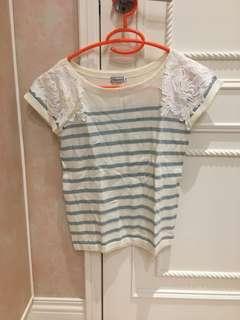 🚚 日貨-條紋蕾絲針織