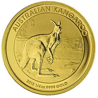 Australian Perth Mint 9999 Pure Gold Kangaroo Nugget 2013 - 1/4 oz