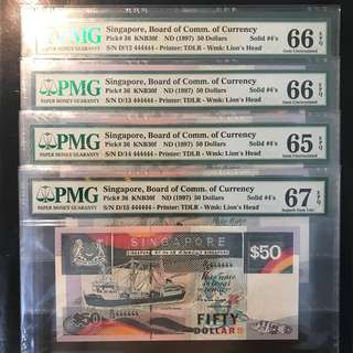 1997 Singapore 🇸🇬 $50 Ship Series, D/12 - D/15 444444 Running Prefix Solid 4s Gme UNC PMG