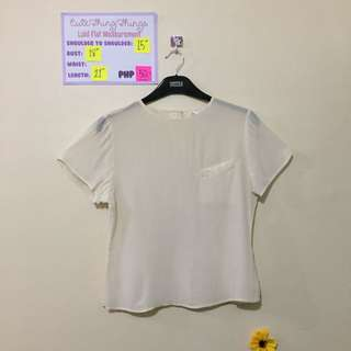 100% Silk Cream Short Sleeved Top