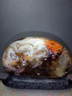 天然玛瑙原石11x7cm。指日高昇