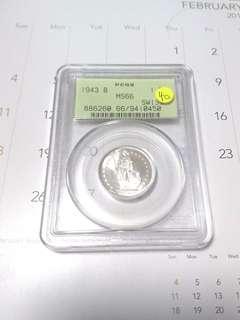 Switzerland 1943 B 1 franc
