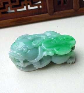 缅甸天然A货翡翠 绿色霸王貔貅