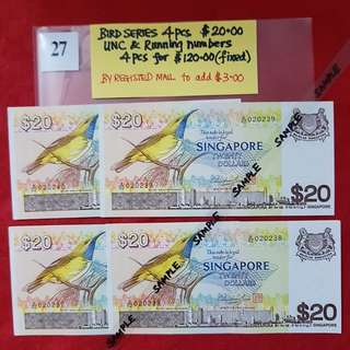 BIRD SERIES 4 PCS x $20.00.   UNC & RUNNING NUMBERS