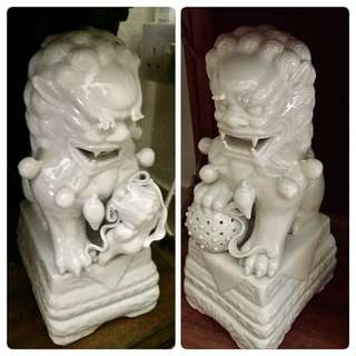 Large Pair Porcelain Lions