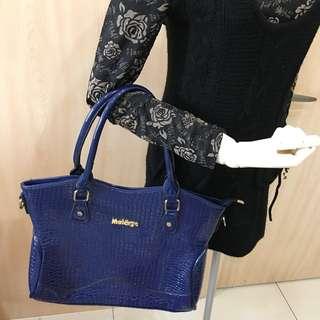 🚚 亮皮經典藍手提包 組合