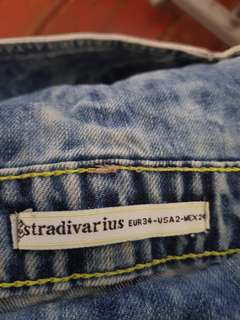 Stradivarius denim dungaree shorts