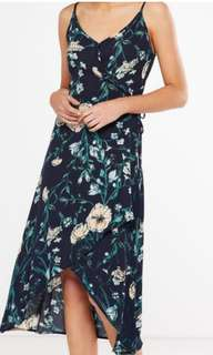 New Cotton  On Wrap midi high low dress NAVY FLORAL