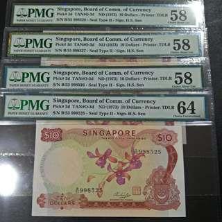 Orchid $10 singapore 1973 4runs