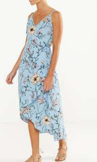 New Cotton On Wrap midi dress baby blue with floral print