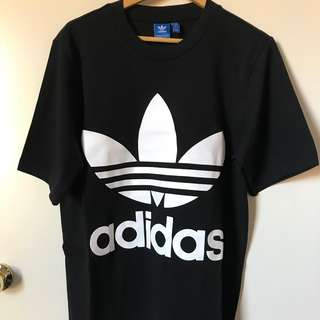 New Mens Adidas Big Logo Oversized Black Tshirt Top Tee