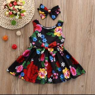 Free Shipping Promotion-15-25 Days Time Shipping for Toddler & Kids Clothes Floral Bowknot Princess Dress