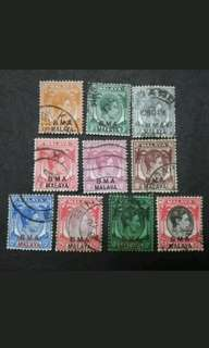Malaya Straits Settlements 1945 Overprint BMA Loose Set Up To $1 - 10v Used Stamps #1