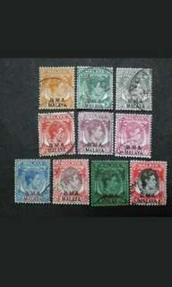 Malaya Straits Settlements 1945 Overprint BMA Loose Set Up To $1 - 10v Used Stamps #2
