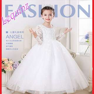 Elegant Long Sleeves Lace Dress Flower Girl Wedding Piano Show Gown White