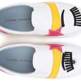 Very Good Condition AUTHENTIC Chiara Ferragni white patent slipon sneakers - 35 - fits 5-5.5