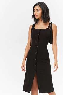 forever 21 button down rib long dress black