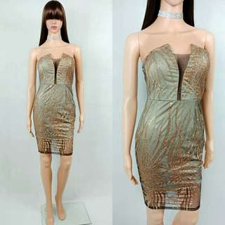 Glitter Gold Tube Dress