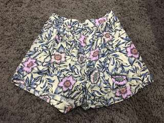 h&m floral high waist beach shorts
