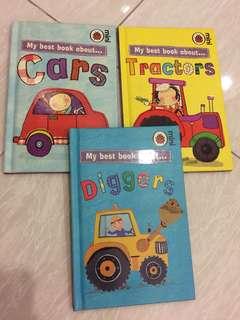 Ladybird mini 3books - Cars, Tractors, Diggers