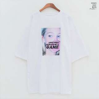 {INSTOCK}{CHUU}   Love Will Always Be A Game Tshirt in Ivory LT01
