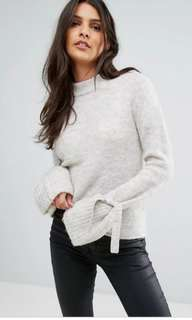Grey sweater with bell sleeves