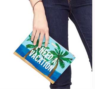"NWT Kate spade Bella wristlet ""l need a vacation"""
