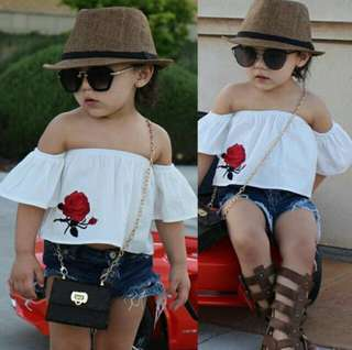 Kids Clothes Baby Girls Cute Tops+ shorts jeans