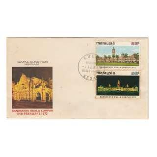 Malaysia 1972 City Status for Kuala Lumpur FDC SG#98-99/ISC#MFDC-48