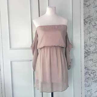 Nude Chiffon Dress Freesize fits up to Semi L